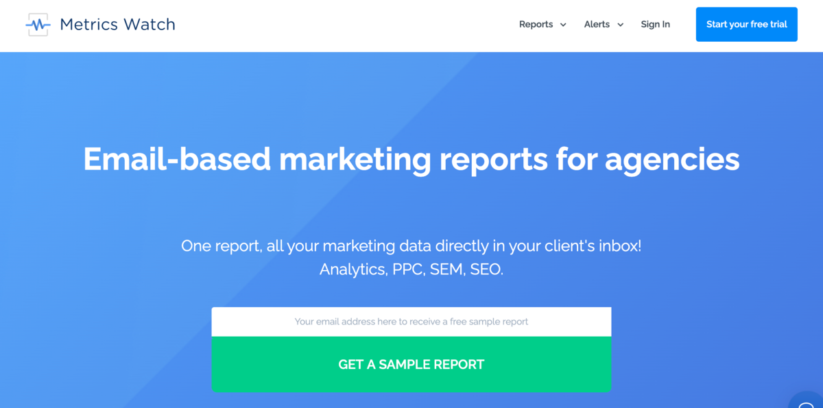 Method #1) Build a Marketing Report With Metrics Watch