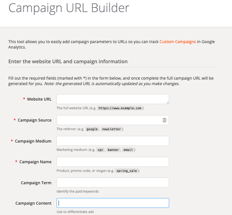 Screenshot of Campaign URL Builder.