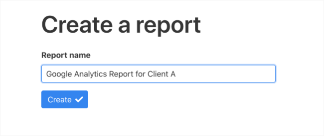 Create a report step 1 screenshot