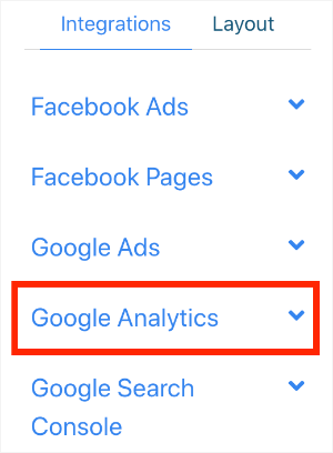 Google Analytics widgets dropdown emphasis