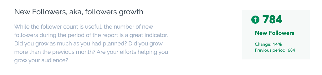New followers / followers growth metric described