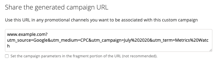 Screenshot of the Campaign URL Builder, with generated URL for example above.