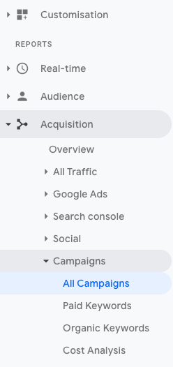 "Screenshot of Google Analytics' acquisition menu with ""All Campaigns"" expanded."