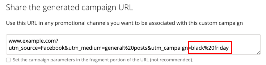 Screenshot of the Campaign URL Builder, with emphasis on utm_campaign=black friday.